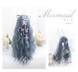 Alice Garden - Mermaid Sweet 70cm Long and 33cm Short Curly Wavy Greyish Blue Lolita Wig