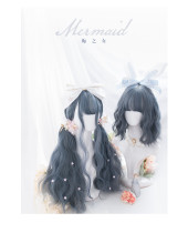 Alice Garden - Mermaid Sweet 70cm Long and 33cm Short Curly Wavy Greyish Blue Lolita Wig