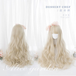 Alice Garden - Sweet dessert chef 65cm Long Curly Wavy Blonde Lolita Wig