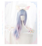 Alice Garden - Sweet 60cm Long Straight Colored Pastel Rainbow Sky Blue and Pink Lolita Wig