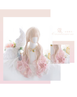 Alice Garden - 75cm Long Big Curly Wavy Pastel Rainbow Pink and Ivory Lolita Wig