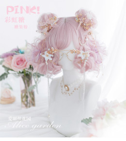 Alice Garden - 30cm Short Big Curly Wavy Pastel Rainbow Pink Lolita Wig