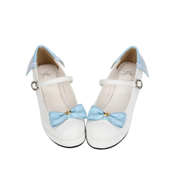 Angelic Imprint - Sailor Round Toe Lolita Platform Shoes with Bow
