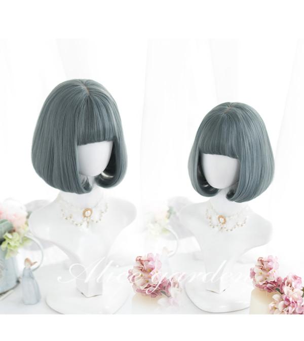 Alice Garden - 27cm Short Straight Grayish Green Lolita Bobo Wig