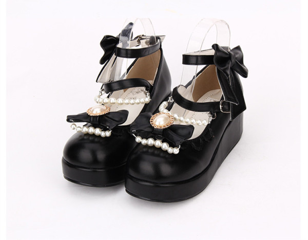 Angelic Imprint - Sweet 5cm Heel Round Toe Lolita Platform with Bead and Removable Bow