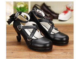 Angelic Imprint - Classic Black Cross Strap High Stiletto Heel  Round Toe Lolita Shoes