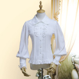 Chiffon Long Puffy Sleeve Gothic Lolita Blouse with Removable Bow Tie