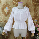 Chiffon Long Puffy Sleeve Off Shoulder Classical Vintage Lolita Blouse