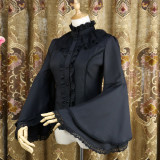 Chiffon Flare Long Sleeve Stand Collar Gothic Lolita Blouse for Spring and Autumn