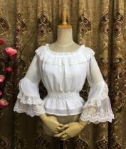 Chiffon Long Flare Lace Sleeve Classical Vintage Lolita Blouse