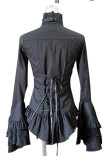Cotton Long Flare Sleeve Gothic Lolita Blouse with Removable Neck Tie
