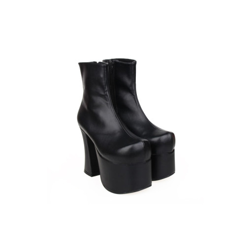 Angelic Imprint - Black Gothic High Chunky Heel Round Toe Ankle Length Platform Lolita Boots