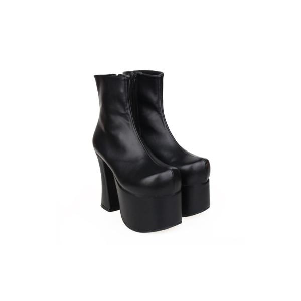 Angelic Imprint - Black Gothic High Chunky Heel Round Toe Ankle Length Platform Lolita Boots