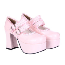 Angelic Imprint - High Chunky Heel Round Toe Buckle Sweet Platform Lolita Shoes