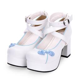 Angelic Imprint - High Chunky Heel Round Toe Buckle Qi Lolita Platform Shoes
