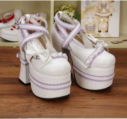 Angelic Imprint - High Chunky Sky Heel Round Toe Buckle Sweet Lolita Platform Shoes with Bow