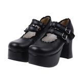 Angelic Imprint - High Chunky Heel Round Toe Buckle Sweet Platform Lolita Shoes
