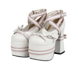 Angelic Imprint - High Chunky Sky Heel Round Toe Buckle Sweet Lolita Platform Shoes with Bow
