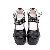 Angelic Imprint -  Black High Chunky Heel Round Toe Buckle Gothic Platform Lolita Shoes
