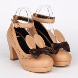 Angelic Imprint - Brown High Chunky Heel Round Toe Buckle Sweet Lolita Shoes with Bow and Rabbit Ears