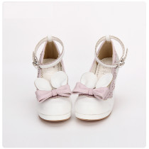 Angelic Imprint - High Chunky Heel Round Toe Buckle Sweet Lolita Shoes with Removable Bow and Rabbit Ears