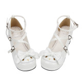Angelic Imprint - White Low Chunky Heel Round Toe Buckle Sweet Lolita Shoes with Bow and Pearls
