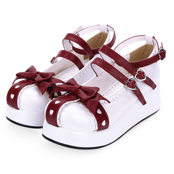 Angelic Imprint - Middle Heel Round Toe Buckle Sweet Lolita Platform Shoes with Bow