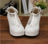 Angelic Imprint - High Wedge Heel Round Toe Buckle Gothic Platform Lolita Shoes with Removable Wing
