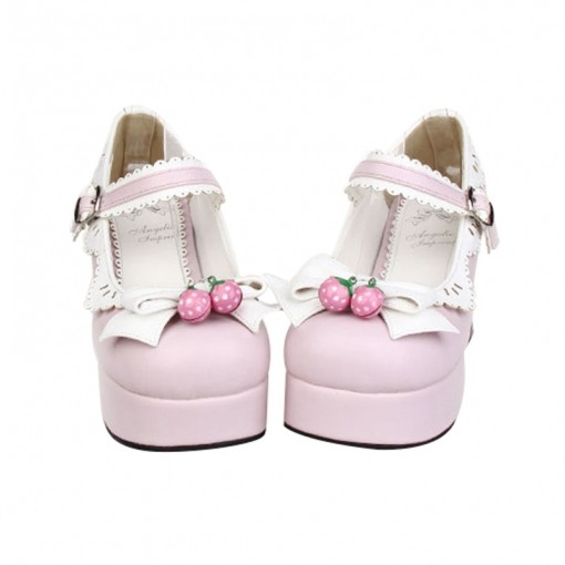 Angelic Imprint -  Pink High Chunky Heel Round Toe Buckle Sweet Platform Lolita Shoes with Bow