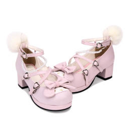 Angelic Imprint - Pink Low Chunky Heel Round Toe Buckle Sweet Lolita Shoes with Bow and Peals