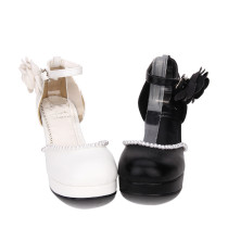 Angelic Imprint - High Wedge Heel Round Toe Buckle Classic Lolita Shoes with Pearl and Flower