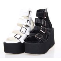 Angelic Imprint - Sky High Heel Open Toe Buckle Ankle Length Punk Lolita Platform Sandals with Zipper Back