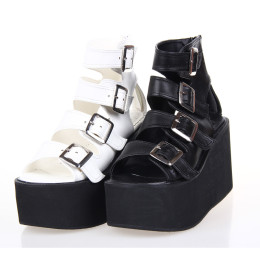 Angelic Imprint - Sky High Heel Open Toe Buckle Ankle Length Punk Lolita Platform Sandals with Zipper Back
