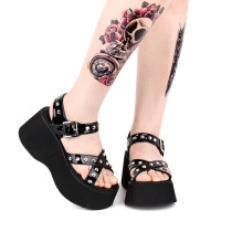Angelic Imprint - Sky High Heel Open Toe Buckle Punk Lolita Platform Sandals