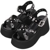Angelic Imprint - Sky High Heel Open Toe Buckle Punk Lolita Platform Sandals