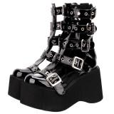 Angelic Imprint - Black Sky High Heel Round Toe Buckle Punk Lolita Platform Sandals