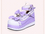 Angelic Imprint - High Heel Round Toe Buckle Sweet Lolita Platform Shoes with Bow