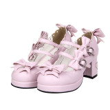 Angelic Imprint - High Chunky Heel Round Toe Buckle Sweet Lolita Shoes with Bow
