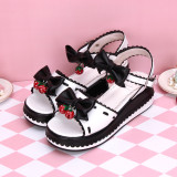 Angelic Imprint - Middle High Heel Open Toe Buckle Sweet Lolita Platform Sandals with Bow