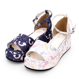 Angelic Imprint - Middle High Heel Open Toe Buckle Sweet Lolita Platform Sandals