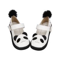 Angelic Imprint - White Round Toe Buckle Sweet Panda Lolita Flat Shoes with Rabbit Fur Ball Back