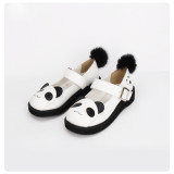 Angelic Imprint - White Round Toe Buckle Sweet Panda Lolita Flat Shoes with Rabbit Fur Ball Back
