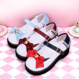 Angelic Imprint - Middle Heel Round Toe Buckle Navy Collar Back Sailor Lolita Shoes with Bow Front