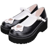 Angelic Imprint - Middle Heel Round Toe Buckle Embroidery Cat Paw Sweet Lolita Platform Shoes