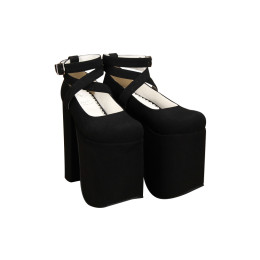 Angelic Imprint - Sky High Heel Round Toe Buckle Gothic Platform Lolita Shoes with Removable Bow