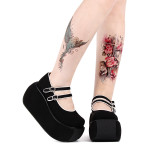 Angelic Imprint - Black High Heel Round Toe Buckle Classic Velvet Lolita Platform Shoes