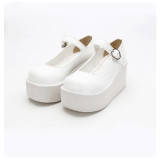 Angelic Imprint - White High Heel Round Toe Buckle Classic Lolita Platform Shoes