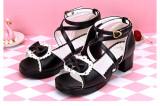 Angelic Imprint - Low Heel Open Toe Buckle Sweet Lolita Sandals with Bow