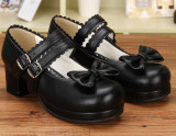 Angelic Imprint - Low Chunky Heel Round Toe Buckle Sweet Lolita Shoes with Bow
