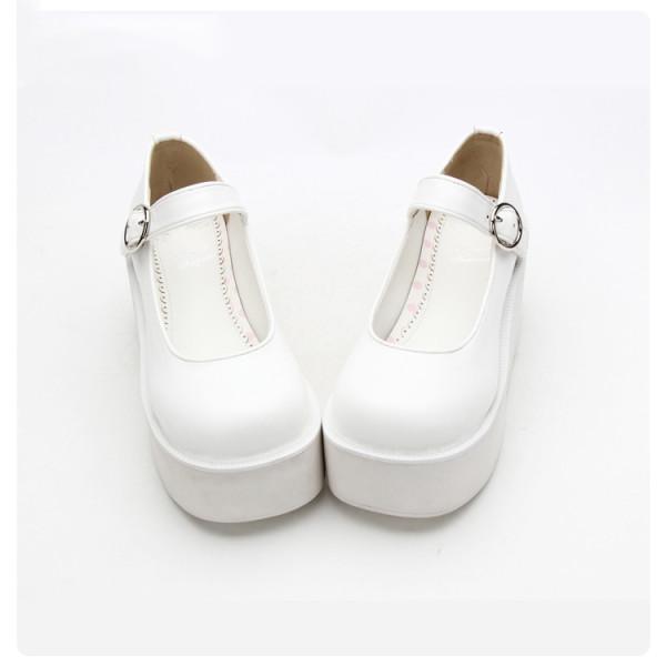Angelic Imprint - White High Heel Round Toe Buckle Classic Lolita Platform Shoes